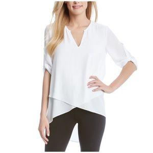 Karen Kane white asymmetrical top